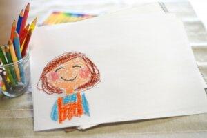 お母さんのイラストを描いた画用紙