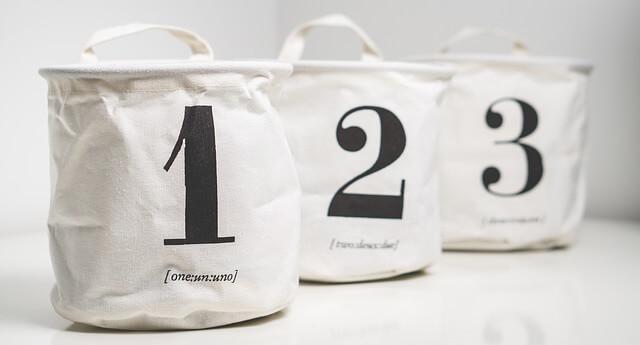 1,2,3の番号つき布のかご