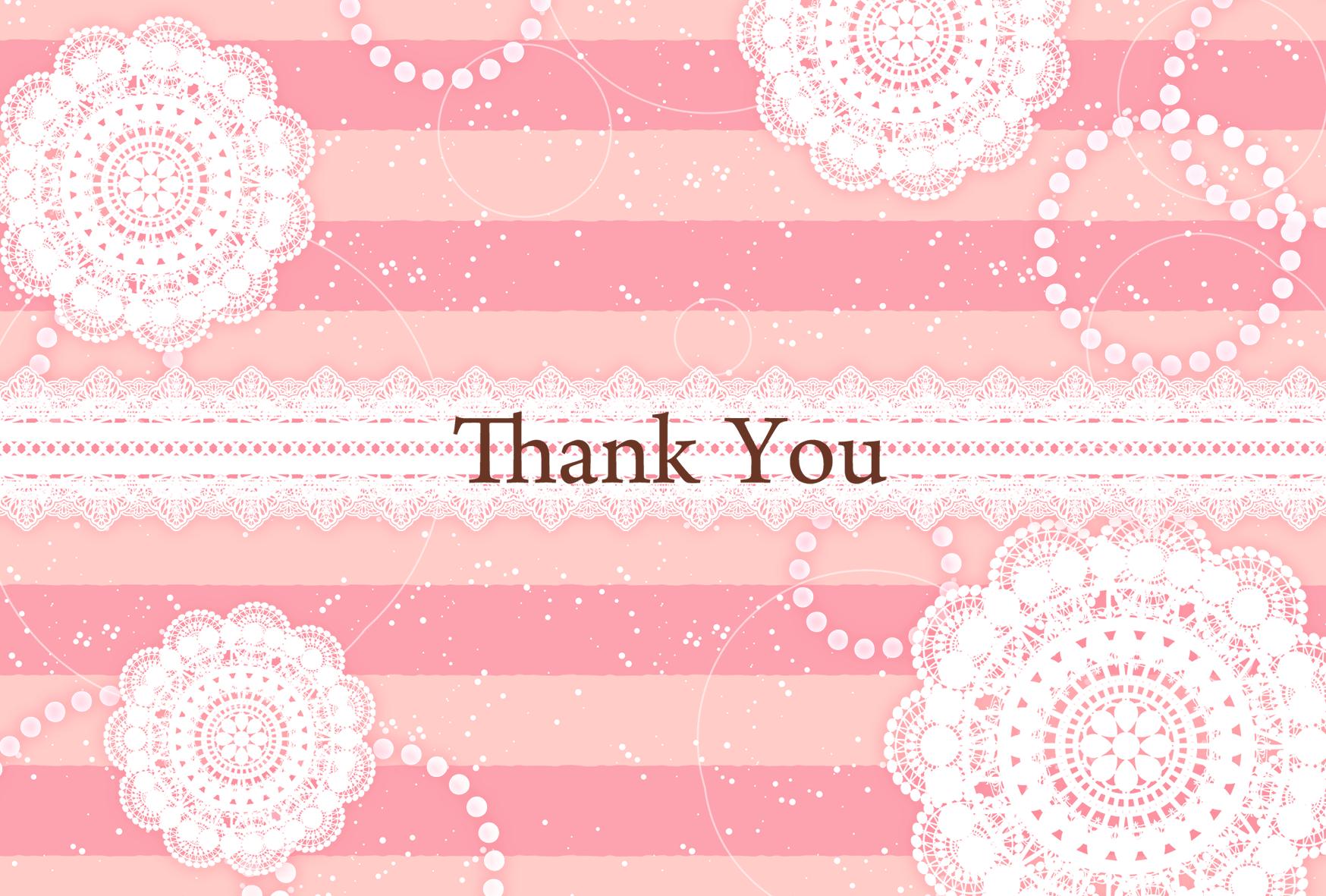 ピンクと白いレース柄の背景にありがとうの文字