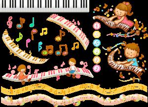 ピアノを弾く少年少女のイラスト