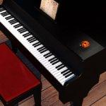 グランドピアノとピアノ椅子写真