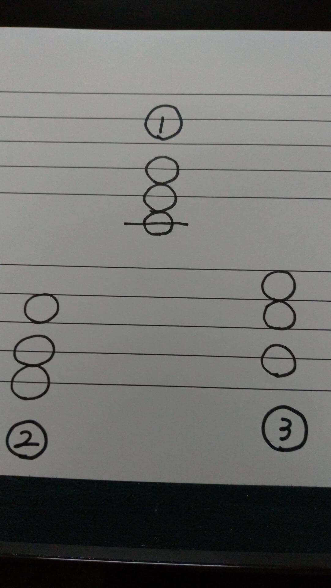 五線紙に和音を3つ書いた写真