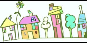 カラフルな家々と木々イラスト