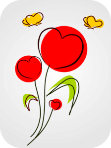 ハートの花に黄色の蝶イラスト