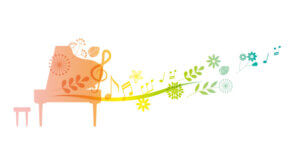 ピアノイラスト音符と花で飾られているイラスト