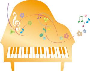 オレンジ色のピアノイラスト